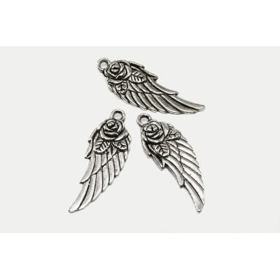 Anhänger Engel Flügel, 31 x 11 mm, silberfarben, 3 Stück