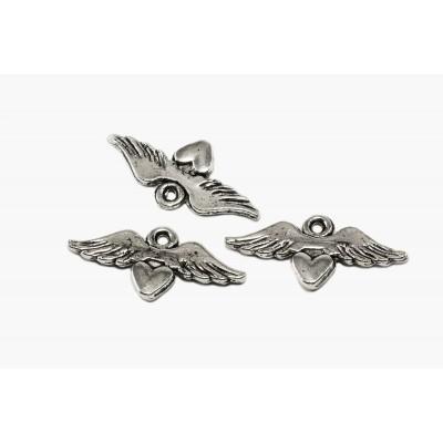 Anhänger Flügel mit Herz, 11 x 24 mm, 5 Stück
