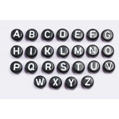 Buchstabenperlen, von A bis Z, Rund, schwarz, 30 Stück