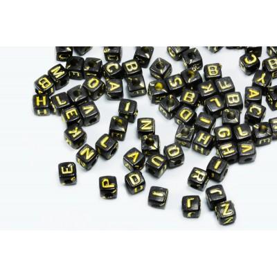 Buchstabenperlen A-Z, Mix, 5 mm, schwarz/goldfarben, 100 Stück