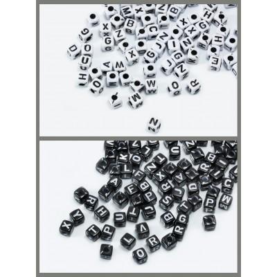 Buchstabenperlen A-Z, Mix, 5 mm, Würfel, 100 Stück