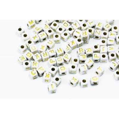 Buchstabenperlen A-Z, Mix, 5 mm, weiß/silberfarben, 100 Stück
