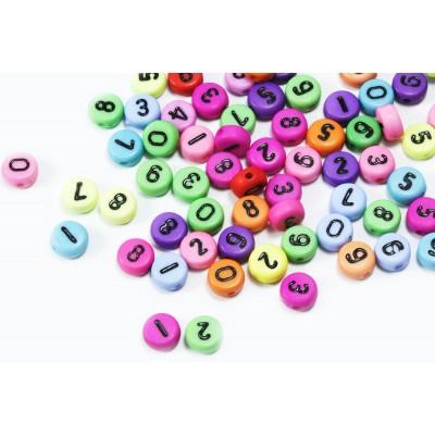 Zahlenperlen, von 0 bis 9, mix, Ø 7 mm, bunt, 100 Stück