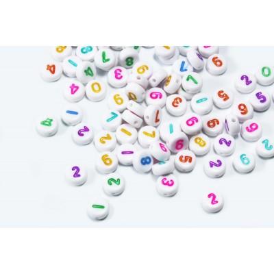 Zahlenperlen, von 0 bis 9, mix, Ø 7 mm, weiß, 100 Stück