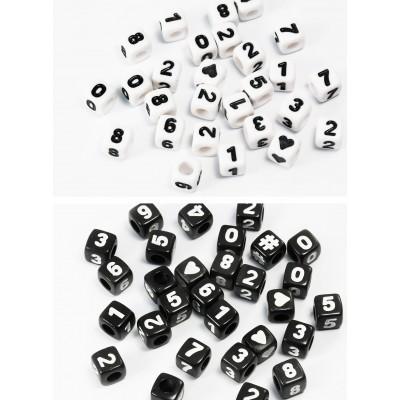 Zahlenperlen, von 0 bis 9, mix, 7 mm, Würfel, 50 Stück