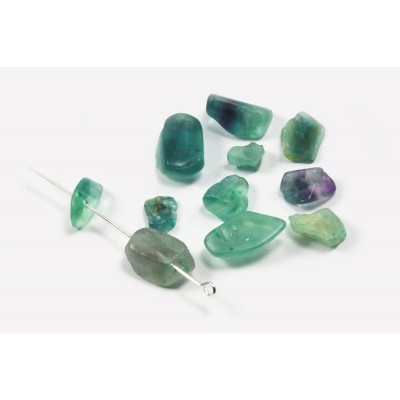 Edelstein Perlen, Fluorit, 6-17 mm, 50 Stück