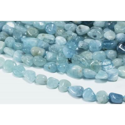Edelstein Perlen, Aquamarin, 1 Strang, 40-41 cm