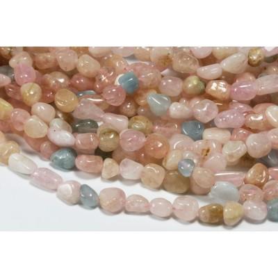 Edelstein Perlen, Morganit Beryll, 1 Strang, 40-41 cm