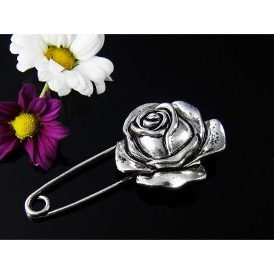 Anstecknadel Rose, 60 mm, silberfarben