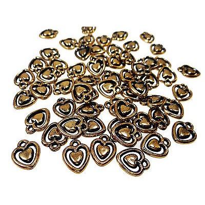 Anhänger Herz, 15 x 12 mm, Kunststoff, bronzefarben, 20 Stück